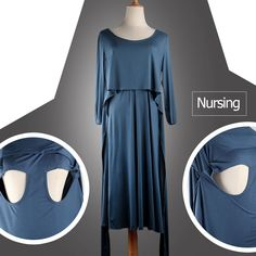 ad419adeb03 Maternity Dresses - SMDPPWDBB Womens Three Quarter Sleeve Maternity Dresses  Nursing Breastfeeding Nightgown Dress 4. Clothes ...