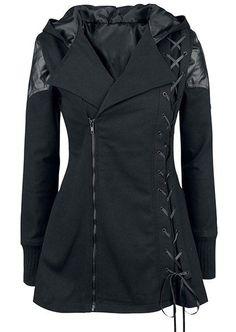 Stylish Hooded Long Sleeve Lace-Up Women's Gothic Vampire Coat