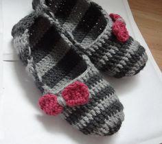Crochet Slippers for Women  stripes BOWS  Adult Crochet by Ifonka, $18.00