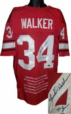 Herschel Walker Autographed/Hand Signed Georgia Bulldogs Red Custom Jersey 82 Heisman w/ Embroidered by Hall of Fame Memorabilia. $314.95. Herschel Walker played running back for the University of Georgia where he was an All-American and won the 1982 Heisman Trophy. Walker was successful even in his freshman season in 1980 setting the NCAA freshman rushing record and finishing third in the Heisman Trophy voting while helping Georgia go undefeated capping the Na...