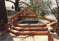 great steps to hot tub with surrounding deck
