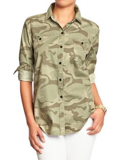 Women's Camo Button-Front Shirts Product Image