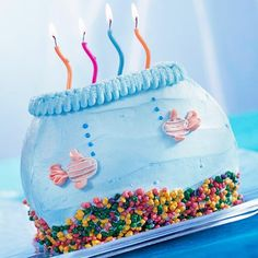 Fish Bowl Cake with Nerds as gravel. Maybe instead of icing you could use Swedish Fish! Cute!