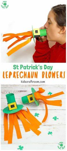 Try these Leprechaun Hat Blowers - A Fun St Patrick's Day Craft for kids! Blow into the leprechaun hat craft to make the orange beard streamers flutter and blow around!  #kidscraftroom #stpatricksdaycrafts #papercrafts #papercraftsforkids #leprechaun #kidscrafts #stpatricksdayactivities  via @KidsCraftRoom