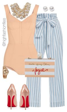 """""""Yacht Party"""" by highfashionfiles ❤ liked on Polyvore featuring Frame Denim, Dolce&Gabbana, Cecilia Ma, Christian Louboutin, Rolex, Nouv-Elle and Betty Jackson"""