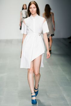 Marios Schwab | Spring 2015 Ready-to-Wear | 15 White belted short sleeve shirt-dress