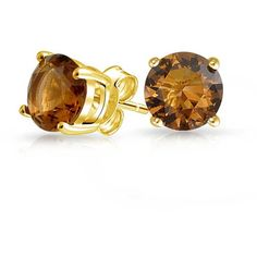 Gold Vermeil Round CZ Brown Smoky Quartz Color Stud Earrings 7mm ($13) ❤ liked on Polyvore featuring jewelry, earrings, brown, cz jewelry, cubic zirconia earrings, vermeil earrings, round stud earrings and monarch butterfly earrings