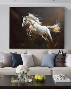White Horse Painting Large Canvas Art Horse Decor Horse Oil Etsy In 2020 White Horse Painting Horse Painting Horse Wall Art