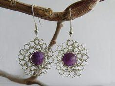 La Petite Fleur Earrings with Purple Mica Gemstones Flower Earrings, Crochet Earrings, Drop Earrings, Designer Earrings, Hand Crochet, Cord, Weaving, Pendant Necklace, Pure Products