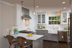lower cabinet paint color is Benjamin Moore, Graystone. The upper cabinets are Benjamin Moore Baby's Breath. Maple Kitchen, All White Kitchen, White Kitchen Cabinets, New Kitchen, Kitchen Ideas, Kitchen Redo, Glass Cabinets, Kitchen Makeovers, Shaker Cabinets