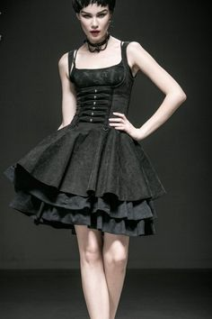 Rebella Gothic Underbust Corseted Dress by Punk Rave