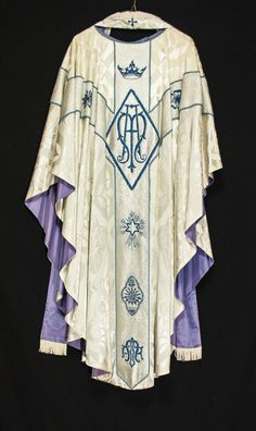 White & Silver MARIAN CHASUBLE & STOLE w Blue, Catholic Priest Vestments Clergy