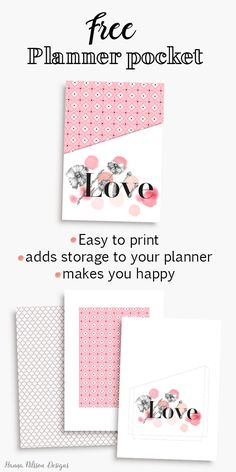 Beautiful and FREE printable Planner Pocket.