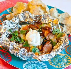 Grilled Chipotle Sweet Potatoes and Chicken Sausage Foil Packets