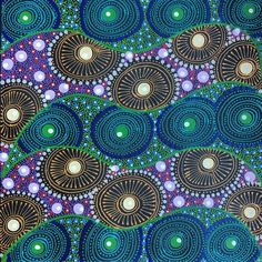 These shapes remind me of the colored shells posted on Earth Colors. Turquoise and green. Painting titled Alpar Seed Story by Karen Bird Ngale