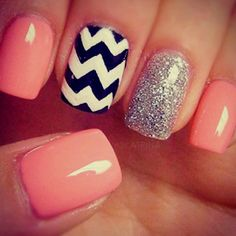 black and white chevron print with pink/coral!