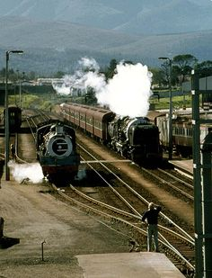 RSSA tou 1983 arriving in George having crossed the Montague Pass Railroad Photography, Landscape Photography, South African Railways, Steam Engine, Steam Locomotive, Cape Town, Wilderness, Mineral, Nostalgia