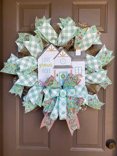 Burlap Wreaths, Deco Mesh Wreaths, Front Door Decor, Easter Wreaths, Pancake, Yellow Flowers, Summertime, Farmhouse, Etsy Shop