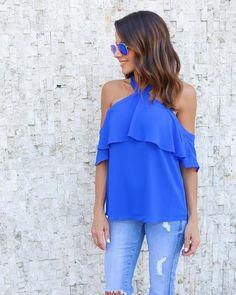 Girl About Town Blouse - Capri Blue