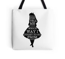 Alice in Wonderland, typography, quotes, reading, books, reading, black and white, tote bag, redbubble, art