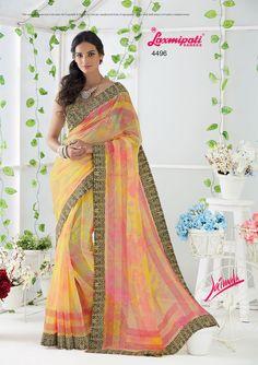 Buy this stunning Multicolor Banarasi Checks Saree and Glory Banarasi Checks Blouse along with Printed Lace Border by Laxmipati. Look fresh, look chic! Laxmipati Sarees, Checks Saree, Saree Shopping, Silk Sarees Online, Dubai Fashion, Printed Sarees, Look Chic, Daily Wear, Bridal Collection