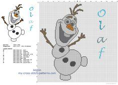 Disney Olaf snowman free cross stitch pattern big size about 150 stitches - free cross stitch patterns simple unique alphabets baby Frozen Cross Stitch, Xmas Cross Stitch, Modern Cross Stitch, Cross Stitching, Disney Cross Stitch Patterns, Counted Cross Stitch Patterns, Cross Stitch Embroidery, Stitch Disney, Olaf Snowman