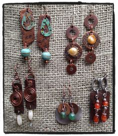 Some of my copper earrings for Junk Drawer Gypsy .  By LjBlock Designs