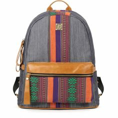 Tribal Snowflake Striped Denim Canvas School Backpack for Girls. My Fashion  Attitude · Backpacks d21655a7698b6