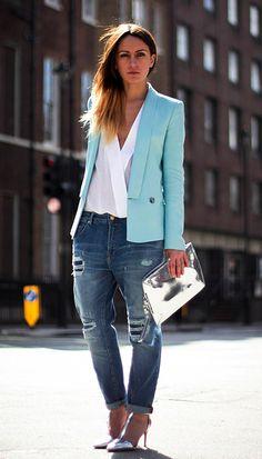 Colorful blazer + boyfriend jeans + metallic accents