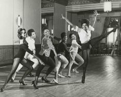 Nichelle Nichols high-kicks it in rehearsal for the musical Kicks and Co., 1961.