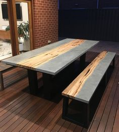 Table Beton, Concrete Dining Table, Concrete Wood, Resin Table, Polished Concrete, Concrete Countertops, Patio Dining, Dining Room, Resin Patio Furniture