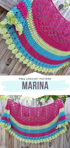 Marina Shawl Free Crochet Pattern Just look at this stunning edging! We don't even know what we love most about this design. Is it the lacy border or the delicious cocktail of colors? Deep pink, lime green, and vivid blue work together perfectly here. Crochet Prayer Shawls, Crochet Shawl Free, Crochet Shawls And Wraps, Crochet Scarves, Crochet Ripple, Knit Shawls, Crochet Sweaters, Crochet Triangle, Crochet Circles