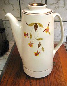 Hall Jewel Tea Autumn Leaf Design Electric Coffee Percolator 1957 Full Size