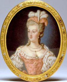 A miniature portrait of Marie-Antoinette by Anne Vallayer-Coster, one of the queen's favorite artists and who received several important portrait commissions from the royal family. This miniature is housed at the Walters Art Museum, in Maryland. Louis Xvi, French History, Art History, Marie Antoinette, Jean Antoine Watteau, Miniature Portraits, Miniature Paintings, French Royalty, Images Vintage