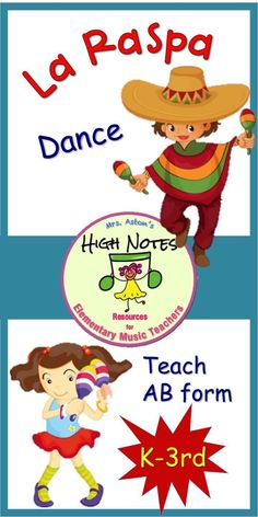 "Use the music to ""La Raspa"" to teach same/different sections, same/different phrases, the movements: leap, elbow swing, and AB form, K-2nd grade. #dance #elementarymusic #kindergarten #1stgrade #2ndgrade #janisaston #aston"