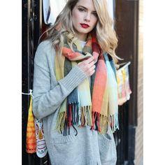 Fall Mix Blanket Tassel Scarf