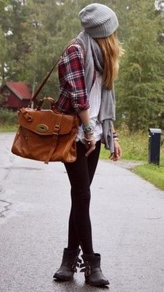 Flannel, leggings, beanie and scarf, boots.