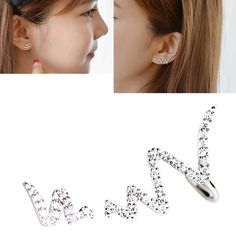 CIShop 'Lighting' Asymmetry Diamond Stud Earrings Ear cuff Earrings Elegant Ear Wrap(Hypoallergic) ** You can find more details by visiting the image link.