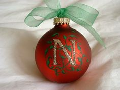 Hand Painted Monogram Christmas Colors Glass Ball Ornament-Personalization available. $15.95, via Etsy.