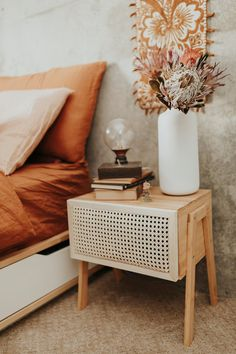 Upcycle and upgrade an inexpensive nightstand into a boho wicker rattan cane side table. Wicker Bedroom Furniture, Home Decor Furniture, Furniture Design, Bedroom Decor, Wicker Side Table, Diy Room Divider, Interior Exterior, Decoration, Minimalist Nightstand