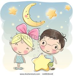 Cute cartoon boy gives a girl a star