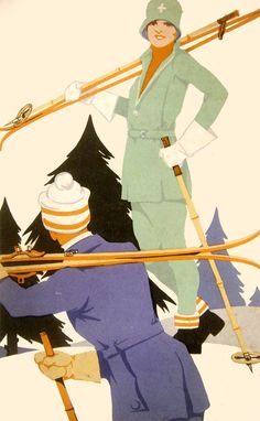 Advert for Burberry ski suits Mint green, pale orange and dusky blue Ski Vintage, Vintage Travel Posters, Ski Posters, Art Deco Posters, Madame Gres, Madeleine Vionnet, Man Ray, Burberry, Ski Fashion