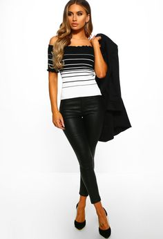 Shop women's tops at Pink Boutique - for all your bardot tops and long sleeve shirts, look no further than PB! Ribbed Fabric, Striped Knit, Sweater Weather, Black Tops, Long Sleeve Shirts, Fashion Looks, Expensive Taste, Black Art