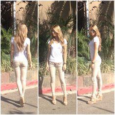 Outfit sunset blonde Frankie b tan jeans lk bennett wedges white t shirt