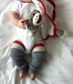 Sock Monkey Baby Legs/Leggings/Leg Warmers and Arm Warmers via Etsy