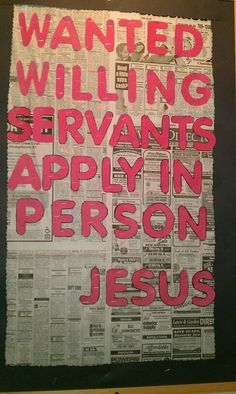 Great idea for a church bulletin board to find volunteers!