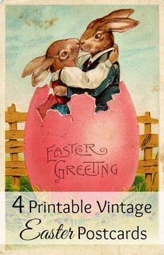 4 fun and festive vintage Easter postcards you can print for your Easter crafts
