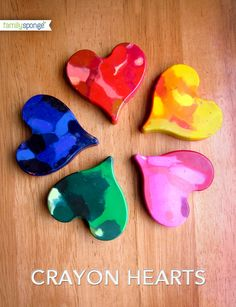 DIY recycled art project: crayon hearts made out of broken crayons. Kids love doing this project!