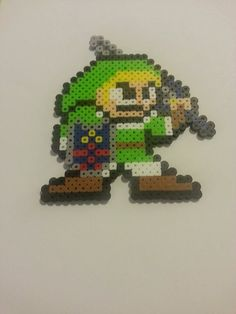 Link 8 bit bead sprite, from Legend of Zelda / Super Smash Brothers. Original design, available for purchase now!