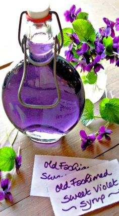 Recipe; Old Fashioned Sweet Violet Syrup - Nice hostess gift! Great in icings, frosting's, tea & drinks.